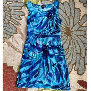 Perceptions Blue Print Stretch Sleeveless Dress 14